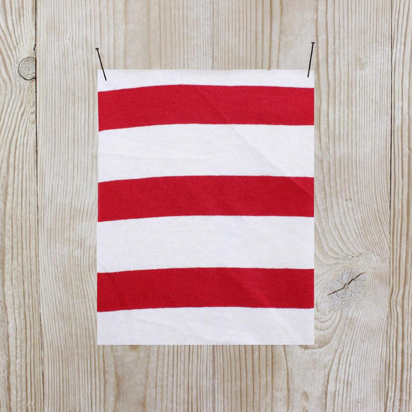 Striped Cotton Jersey - Red / White - buy online at The Fabric Store
