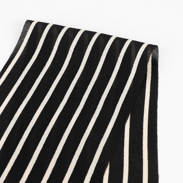 Striped Viscose Georgette - Black / Cream