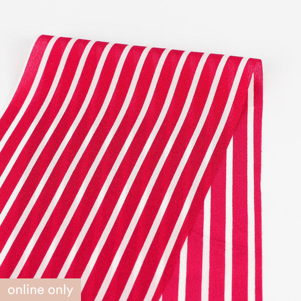 Striped Silk Crepe De Chine - Raspberry