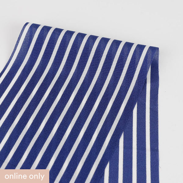 Striped Silk Crepe De Chine - Royal Blue