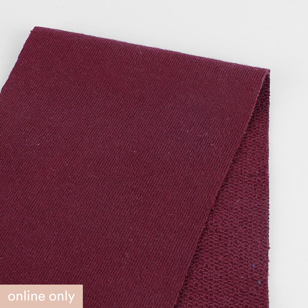 Heavyweight Cotton Sweatshirting - Burgundy - Buy Online at The Fabric Store