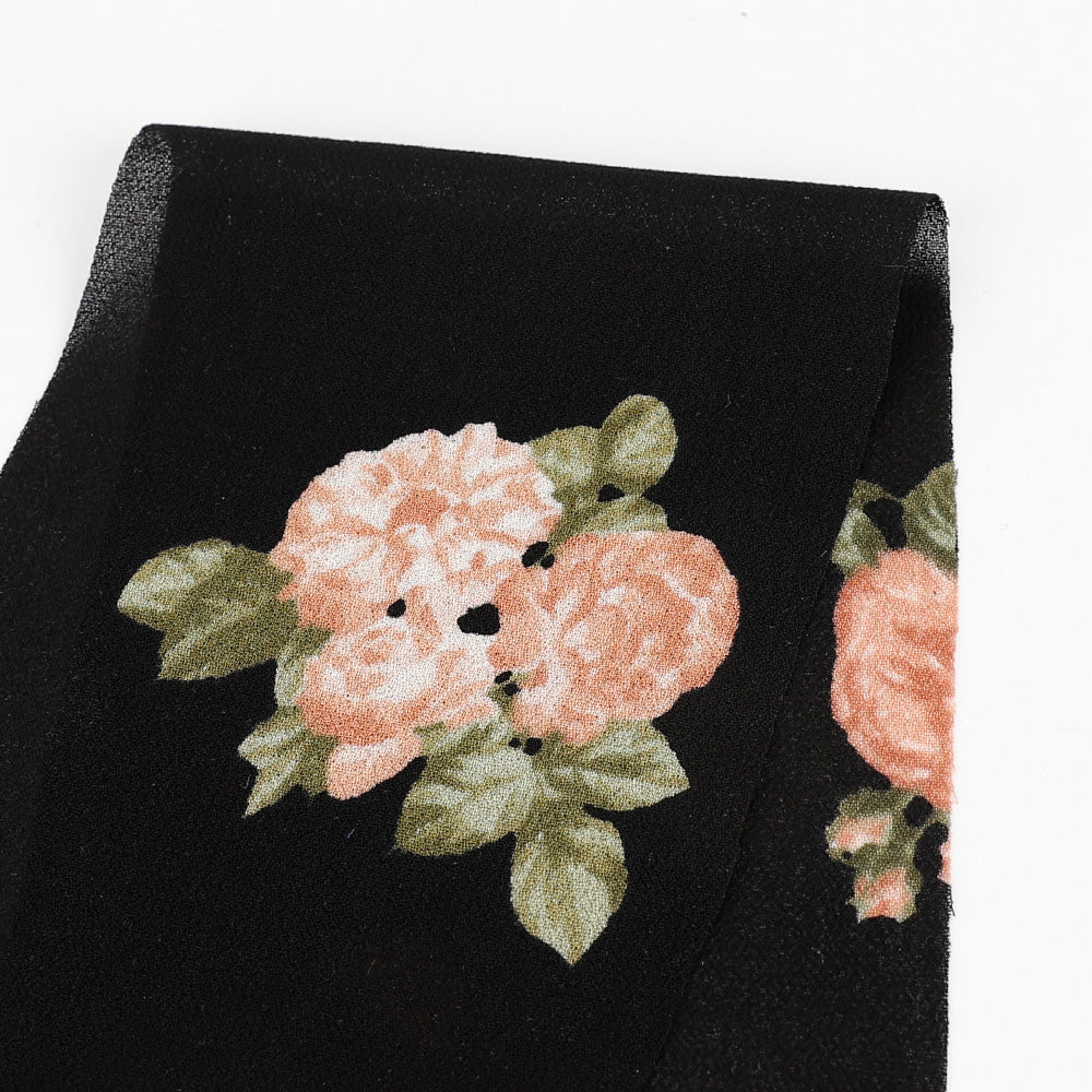 Vintage Rose Viscose Georgette - Black