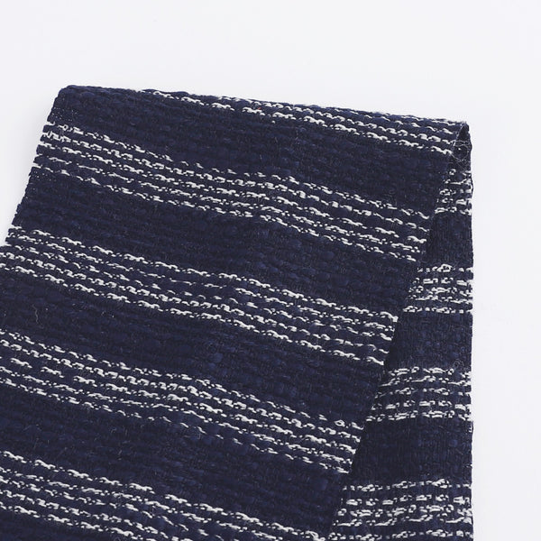Weft Stripe Tweed - Navy / White - buy online at The Fabric Store