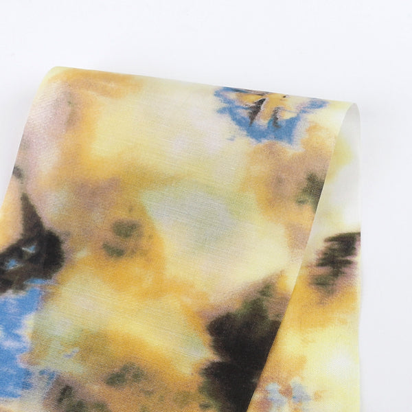 Bright Watercolour Cotton / Silk Voile - Yellow