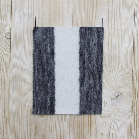 Luxe Long Pile Stripe Coating - Charcoal / Pumice