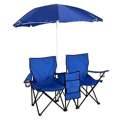 Double Chair with cooler and umbrella, foldable