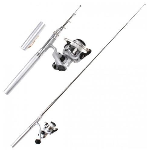 Pen Fishing Reel and Aluminum Rod + FREE Mosquito Bug Repellent Keychain