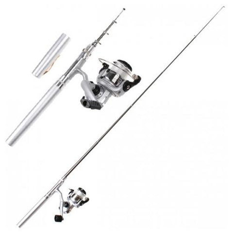 Pen Fishing Reel and Aluminum Rod + FREE Multifunction 10-in-1 Military  Compass Kit