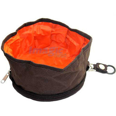 Pet Dog Cat Collapsible Foldable Camping Travel Bowl Water Food Feeder