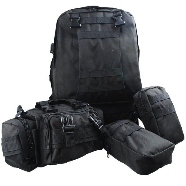 Large BLACK Military Style Hiking Backpack + Large Mouth Water Bladder