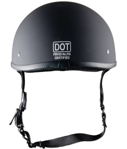 Smallest DOT Approved Motorcycle Half Helmet - Flat Black / No Peak
