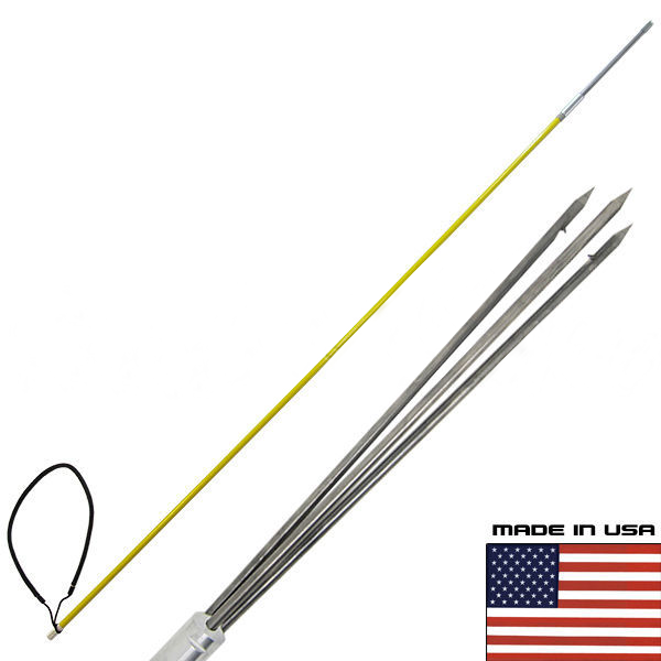 6' ft One Piece Spearfishing Fiber Glass Pole Spear w/ 3 Prong SS Paralyzer Tip