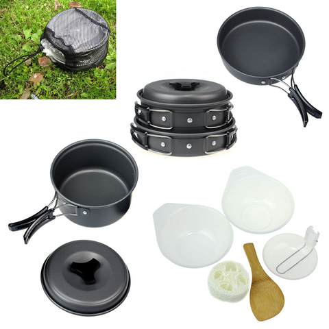 8pcs Outdoor Camping Cookware Pot Pan Set