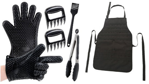 BBQ Grill Set with Tactical Grill Apron, Meat Shredder Bear Claws, Silicone Heat Resistant Gloves, Silicone Brush, &Silicone Tipped Tongs
