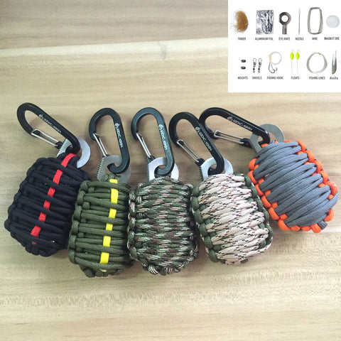 12 in 1 Carabiner Grenade Style Survival Paracord Kit