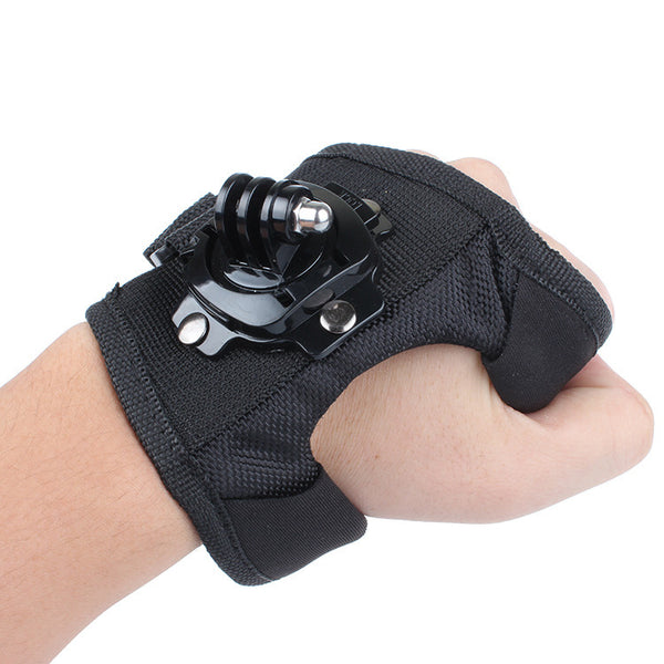 360 Degree Rotation Glove style Wrist Band Mount Strap For Digital Sports Cameras and more.