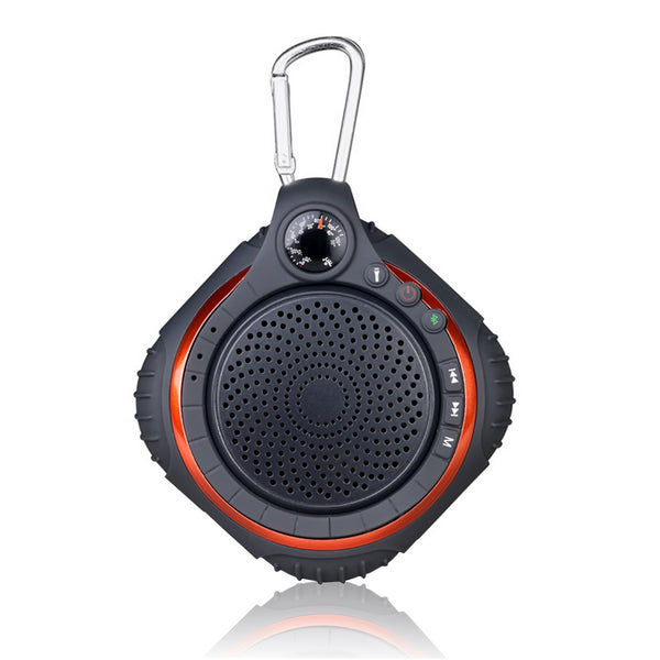 High Fidelity Waterproof Outdoor Portable  Mini Bluetooth Speaker with Thermometer LED Lighting Radio and Music Player