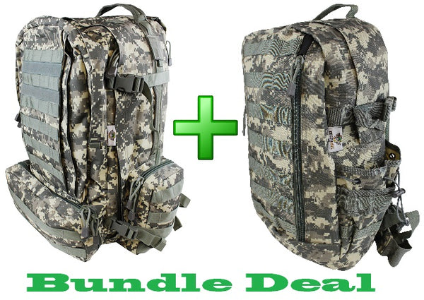 Daypak and 3 Day Pack Bundle. 2 ACU backpacks for the price of 1