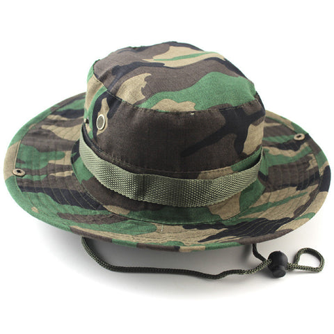 Hot Sale Men Military Camo Bucket Hat with Strings Camping Hiking Travel Sniper Wide Brim Boonie Hat