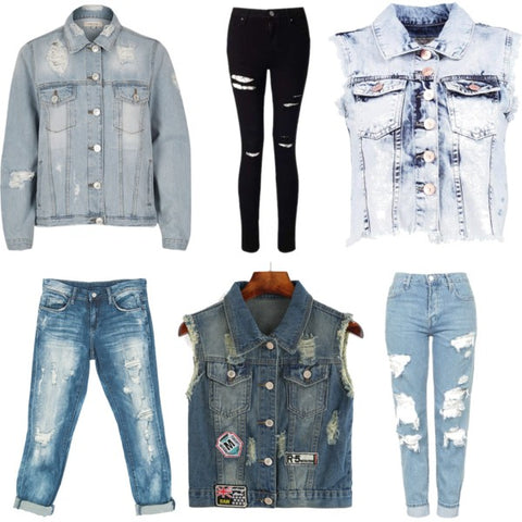 back to school style distressed denim