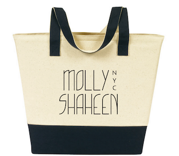Black/Natural Cotton Canvas Shopping Tote Bag