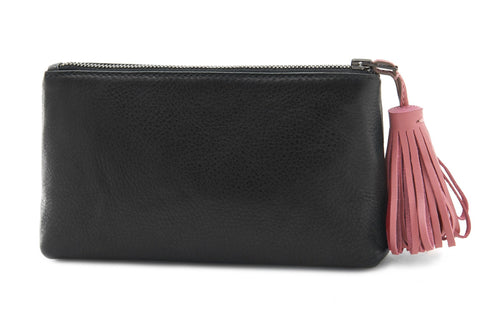 Soft Black Short Toiletry Bag w/ Pink Tassel