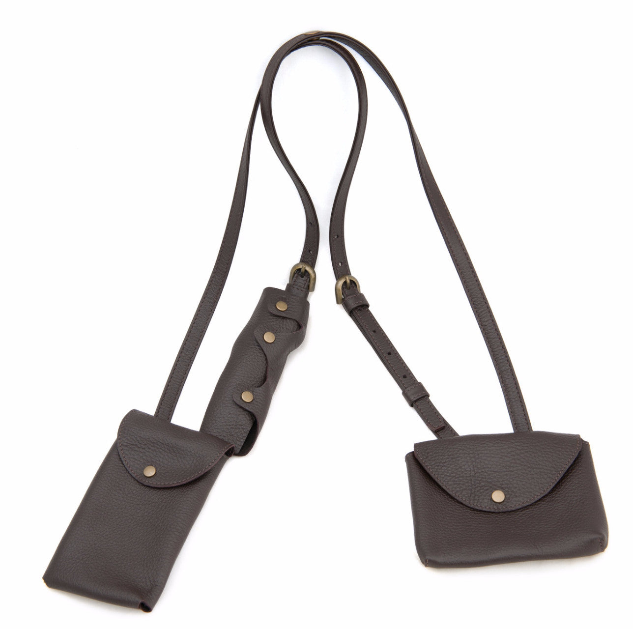 lowest price c70a1 0647e Dark Chocolate Brown Leather Cell Phone Shoulder Holster - Molly Shaheen