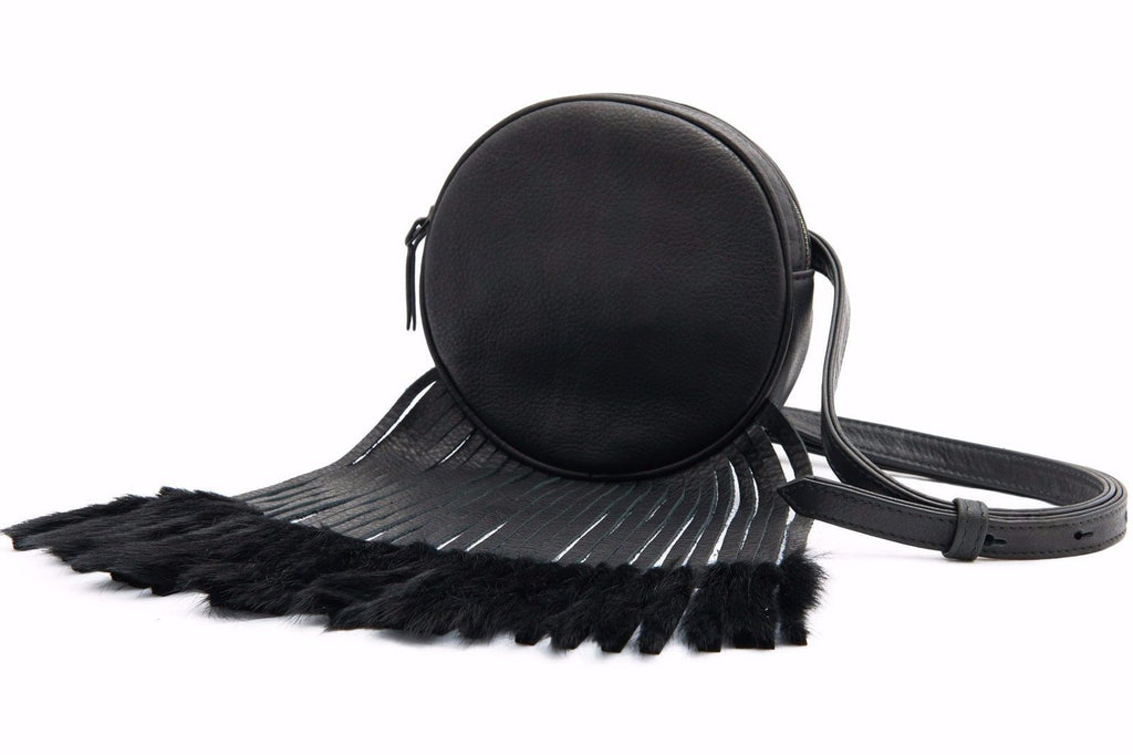 black fanny pack fur fringe