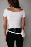 white leather fanny pack