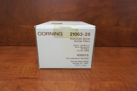 Corning Disposable Sterile Syringe Filters 25mm, 0.45 micron, Nylon, 50ct