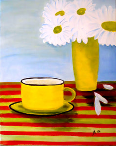 Coffee Cup With Daisies Paint Kit (8x10 or 11x14)