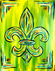 Fleur De Lis Green Paint Kit (8x10 or 11x14)