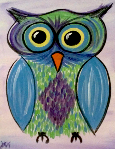 Owl On Purple Paint Kit (8x10 or 11x14)