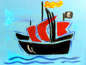 Pirate Ship On Sea Paint Kit (8x10 or 11x14)