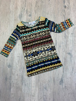 Multicolored Aztec Sweater Dress