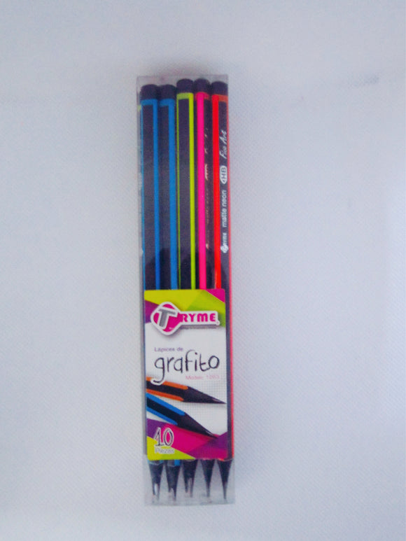 1570 LAPIZ TRYME TRIANG. NEON MATE S/GOMA NEGRO TR-1263 No.2 C/10