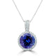3.15 ct Round Tanzanite Pendant with 0.16 cttw Diamond in 14K WG