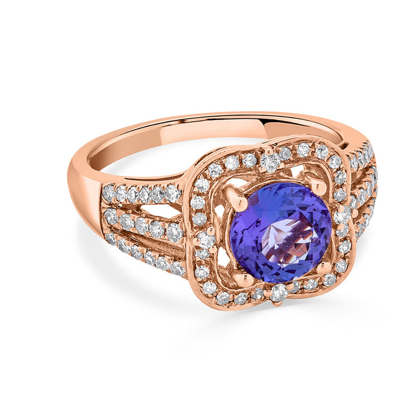 1.63 ct Round Tanzanite Ring with 0.41 cttw Diamond in 14K RG