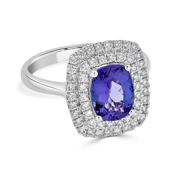 1.82 ct Cushion Tanzanite Ring with 0.51 cttw Diamond in 14K WG