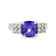 2.73 ct Cushion Tanzanite Ring with 0.42 cttw Diamond in 14K WG