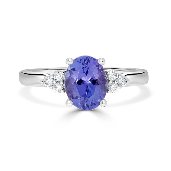 1.8 ct Oval Tanzanite Ring with 0.12 cttw Diamond in 14K WG