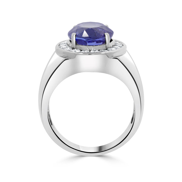 8.26 ct Oval Tanzanite Ring with 0.85 cttw Diamond in 14K WG