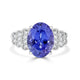 5.63 ct Oval Tanzanite Ring with 0.23 cttw Diamond in 14K WG