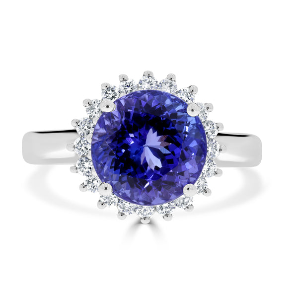 5.18 ct Round Tanzanite Ring with 0.36 cttw Diamond in 18K WG