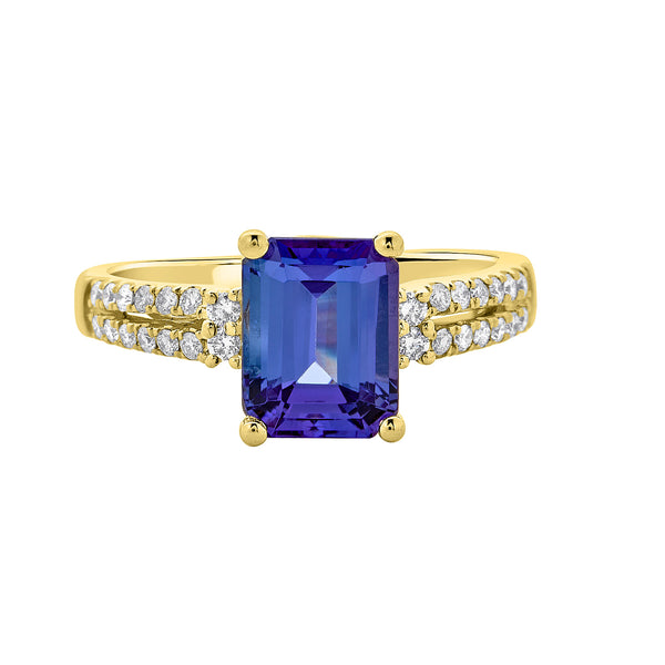2.3 ct Emerald Cut Tanzanite Ring with 0.24 cttw Diamond in 14K YG