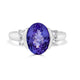 3.58 ct Oval Tanzanite Ring with 0.26 cttw Diamond in 14K WG
