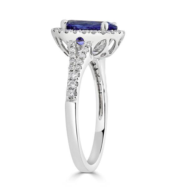 2.39 ct Oval Tanzanite Ring with 0.36 cttw Diamond in 14K WG