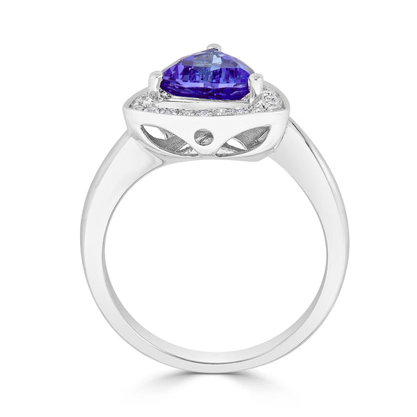 1.59 ct Trillion Tanzanite Ring with 0.15 cttw Diamond in 14K WG