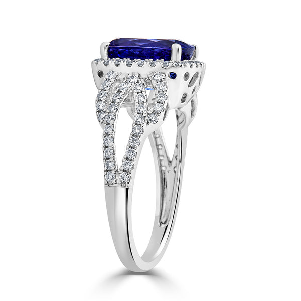 3.62 ct Cushion Tanzanite Ring with 0.62 cttw Diamond in 14K WG