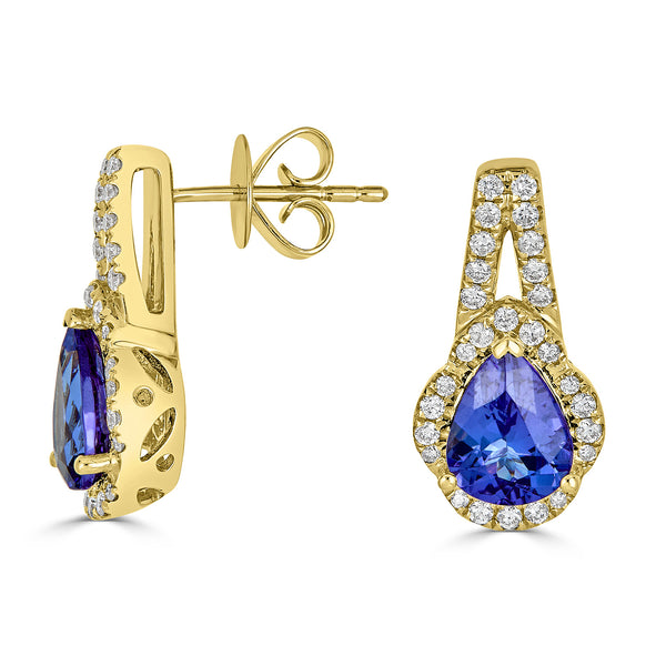 2.18 ct Pear Tanzanite Earring with 0.38 cttw Diamond in 14K YG